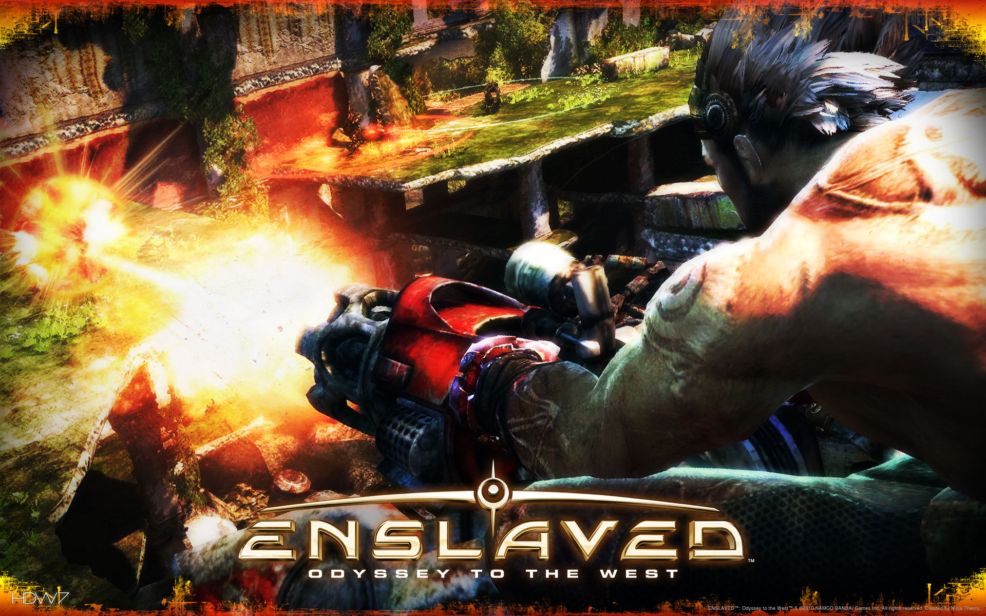 enslaved monkey firing enemy widescreen wallpaper