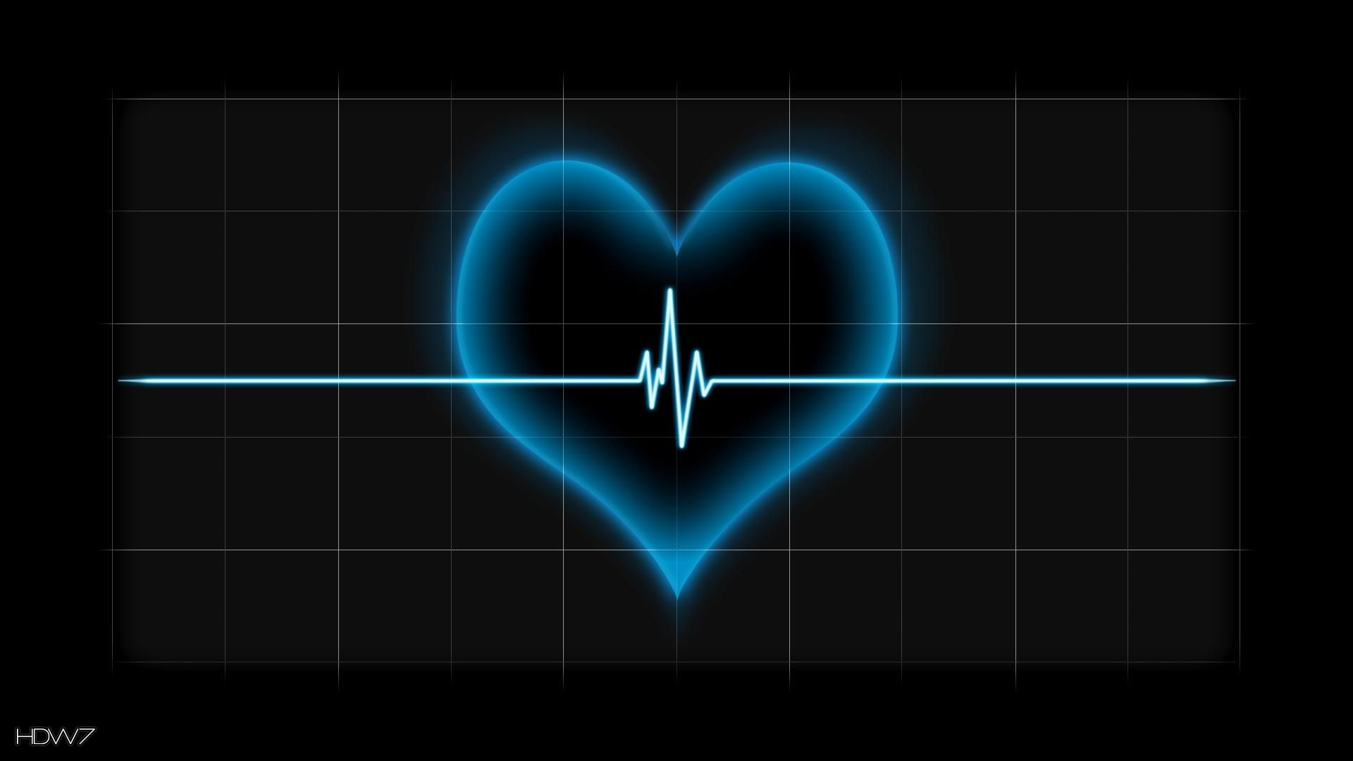 heart beat pulse line blue