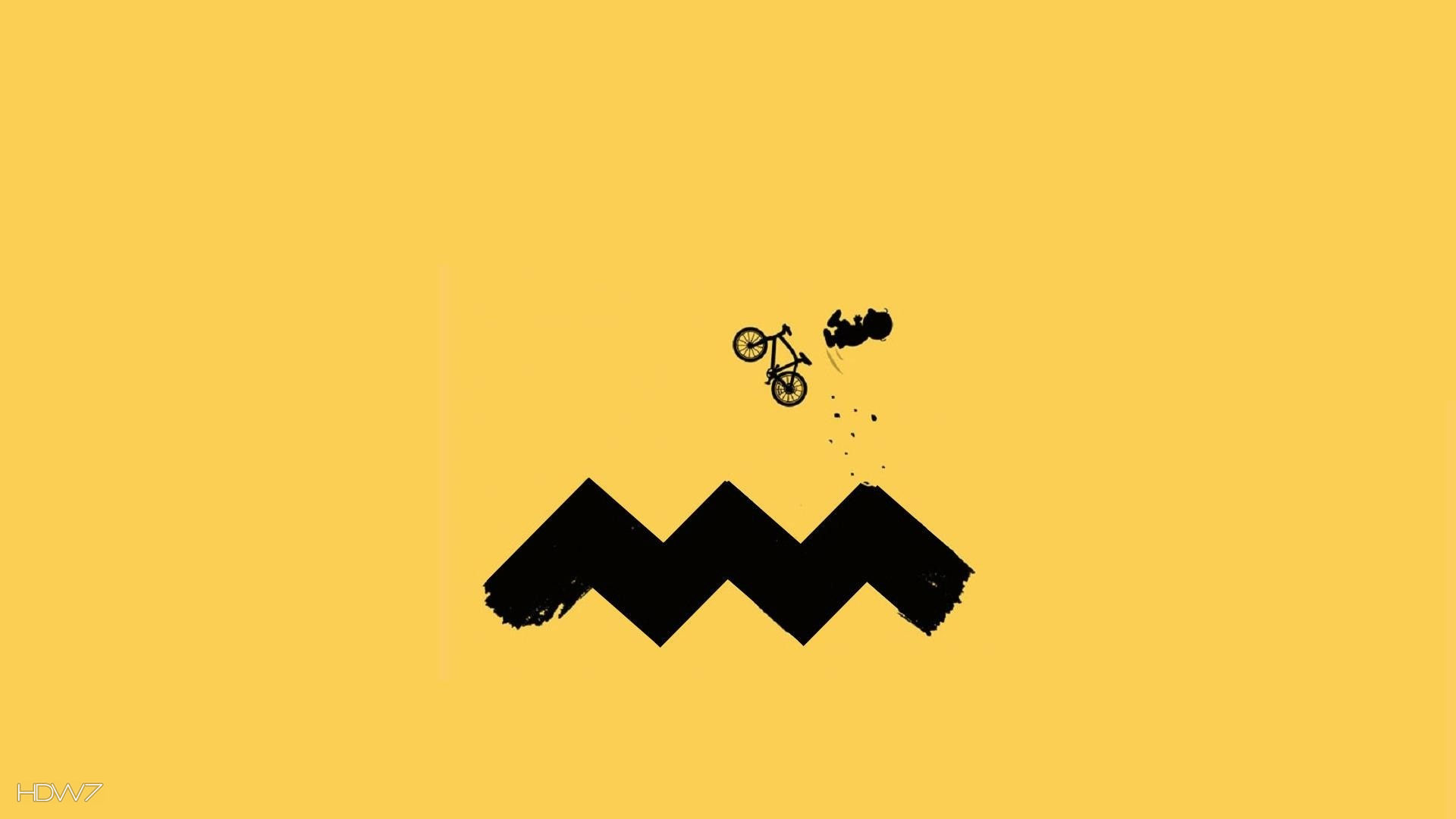 minimalistic funny charlie brown cycling 1920x1080