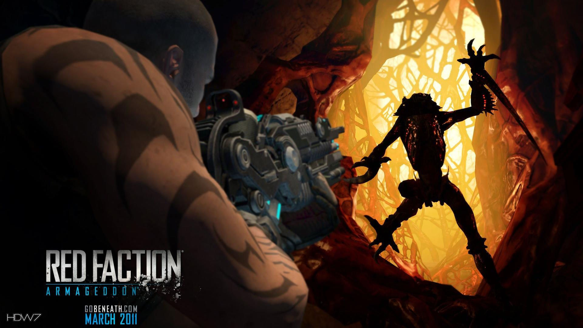 Red Faction Armageddon Darius Aiming At An Alien Widescreen Hd Wallpaper