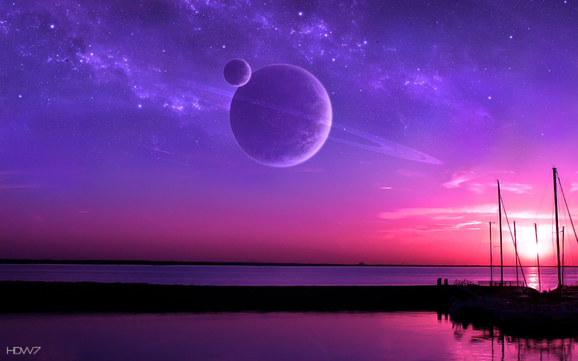 Purple And Pink Sunset Fantasy Space Planets