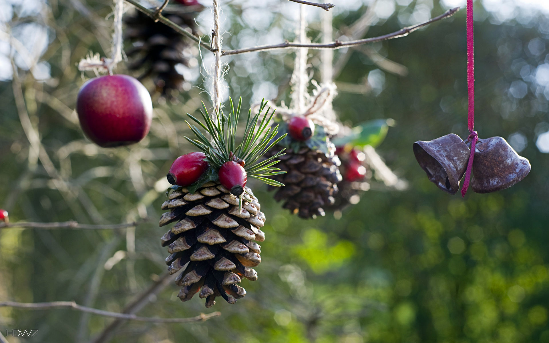 christmas hanging decorations ball bells pine cones holiday   HD ...