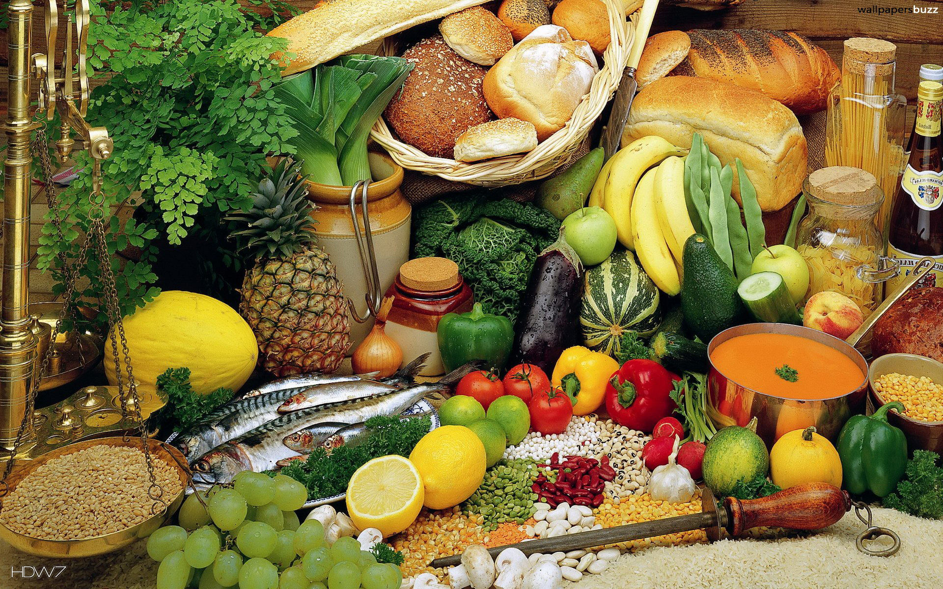 Incroyable Different Fruit And Vegetables In Kitchen. Wallpaper ...