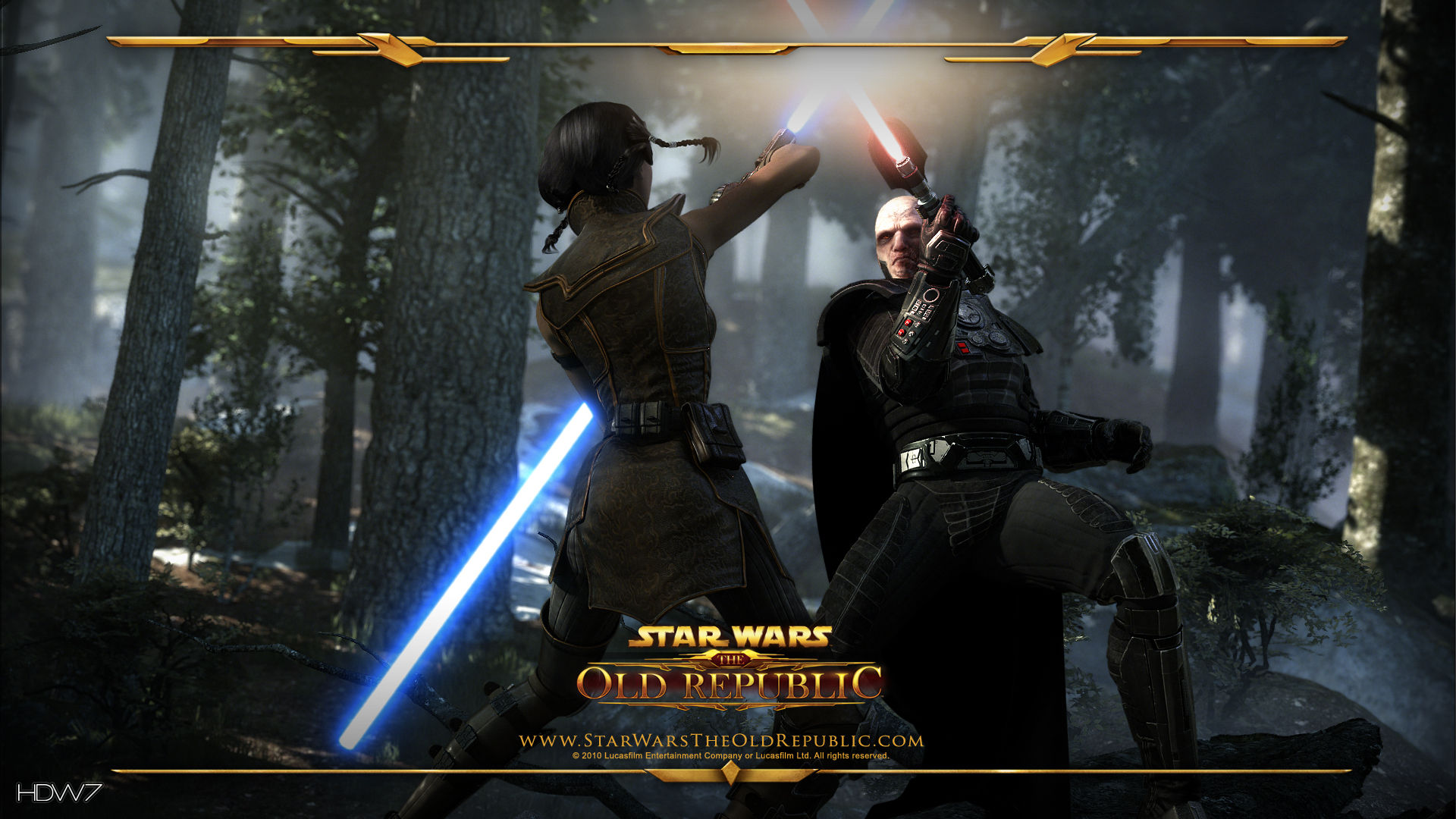 star wars the old republic duel in forest widescreen hd wallpaper