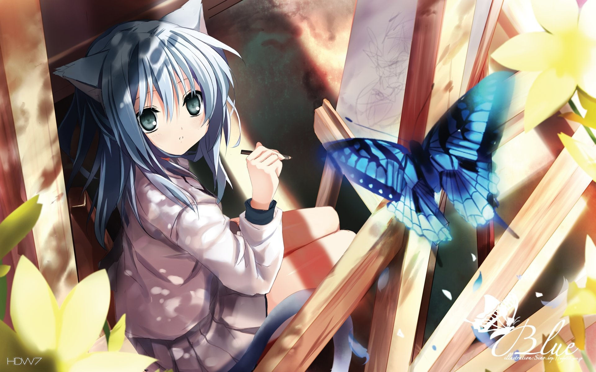 Anime Girl And A Blue Butterfly Wallpaper
