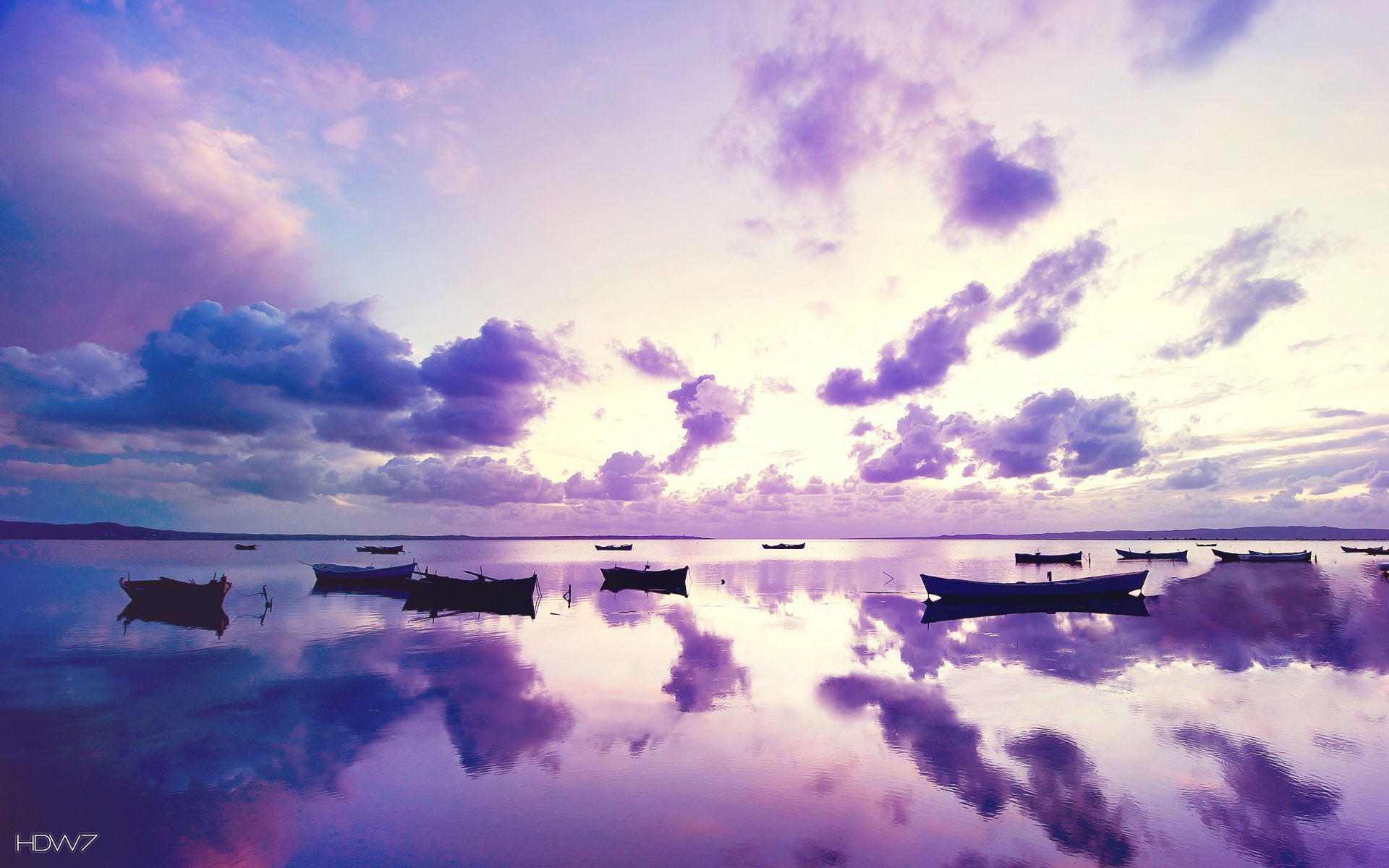 purple sunset in ocean widescreen