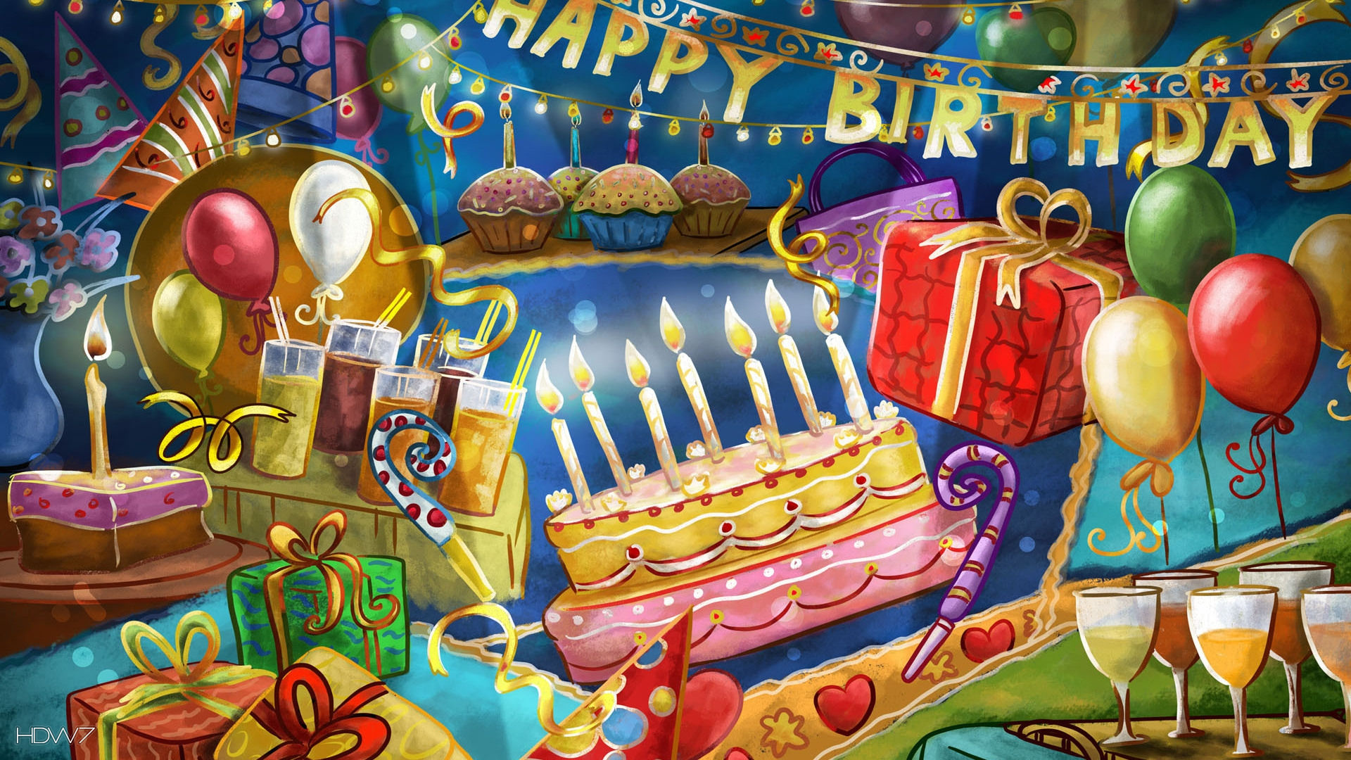 Happy Birthday Balloons And Cake Images amp Pictures Becuo