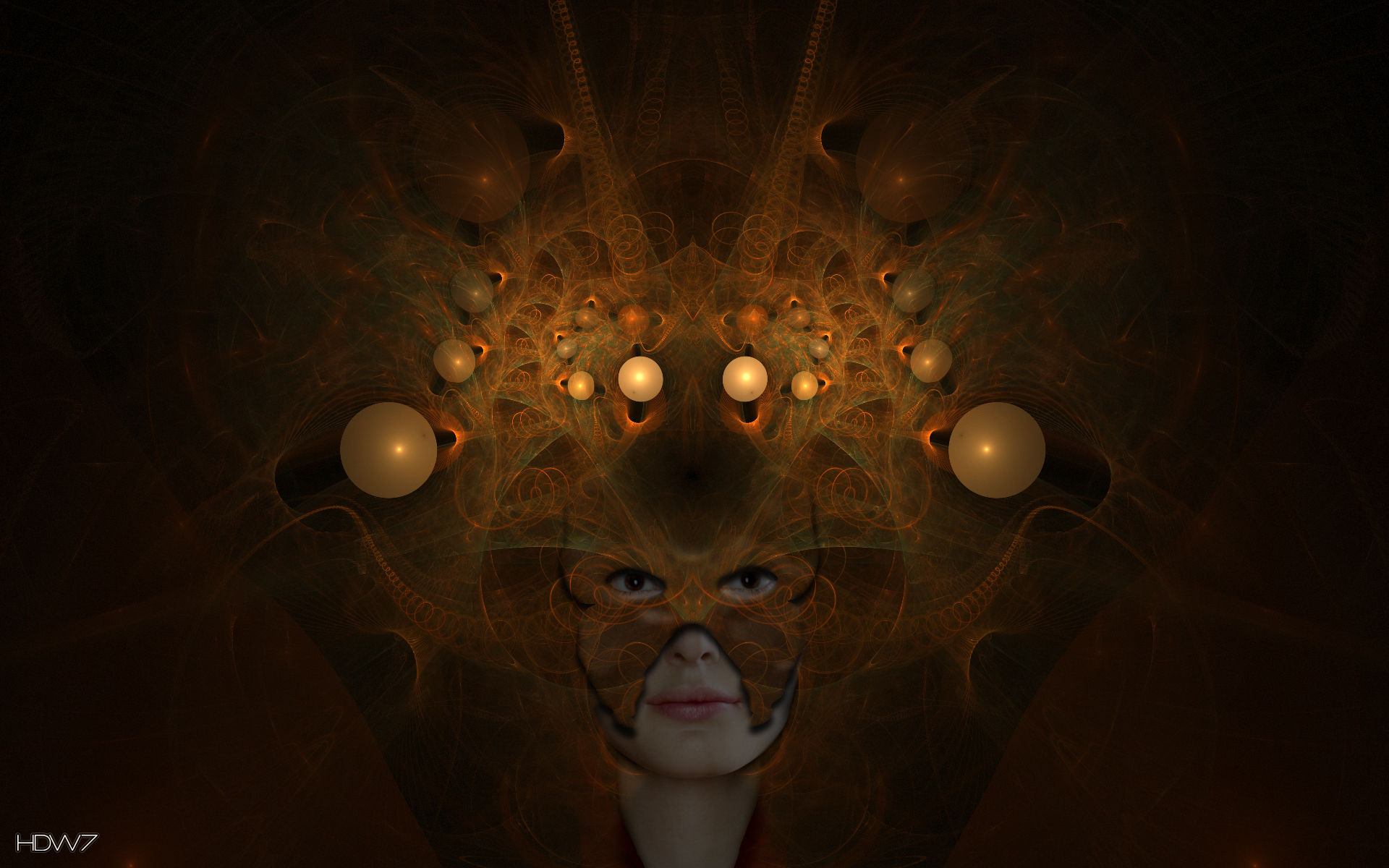 girl with a mask abstract wallpaper