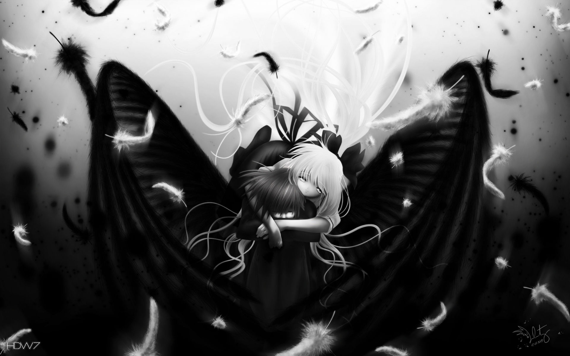 Anime Girl In Black And White Wallpaper Hd Wallpaper Gallery 366