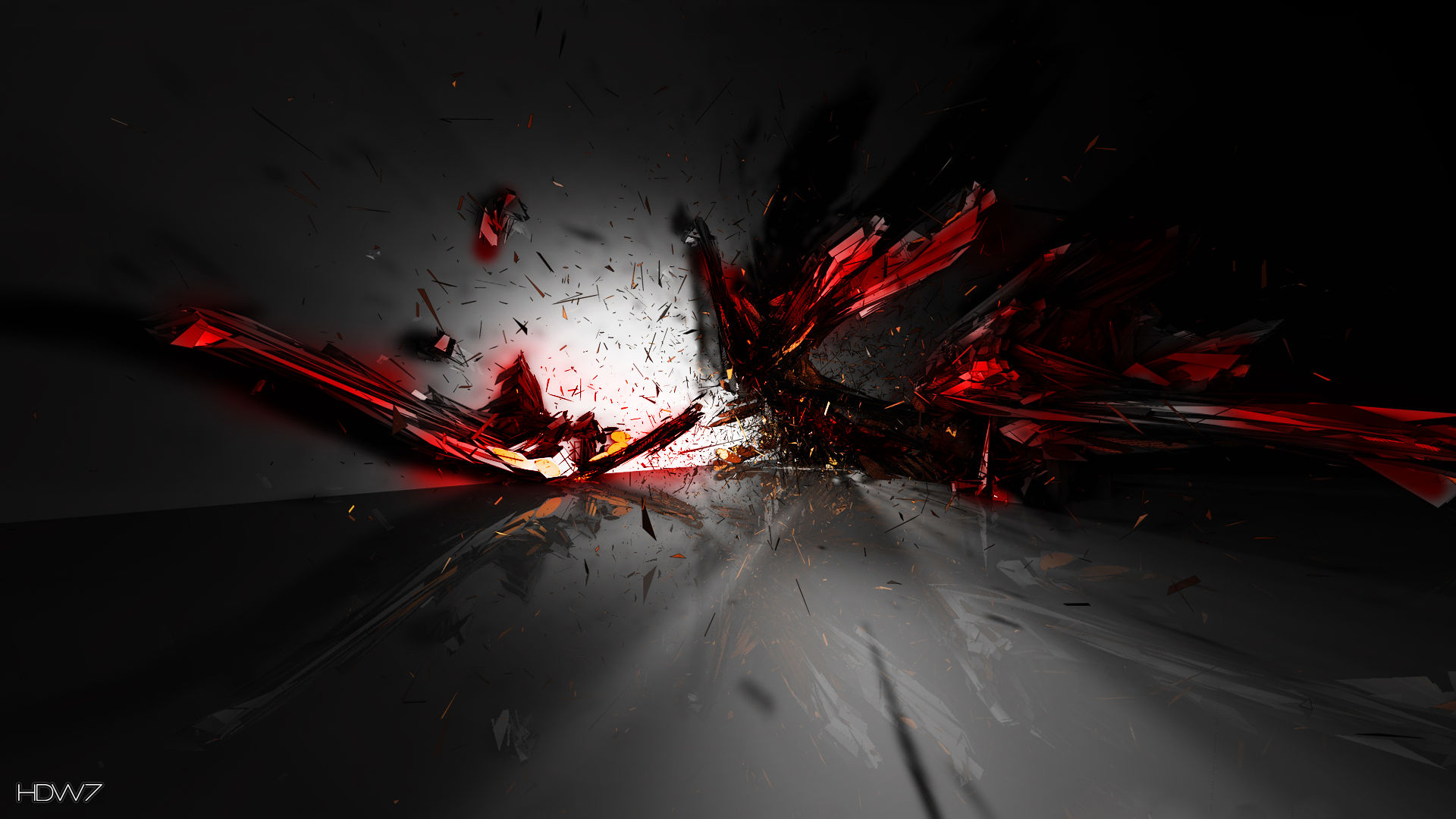 Hd wallpaper red and black - 3d Abstract Red Black Explosion Impressive