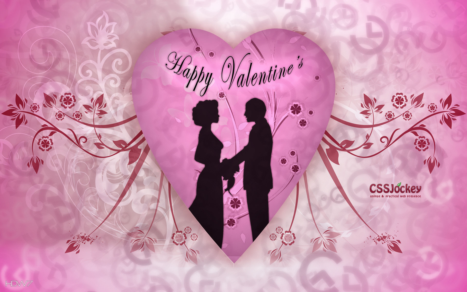 Valentines Day Happy Couple Pink Heart Flowers Vector Love