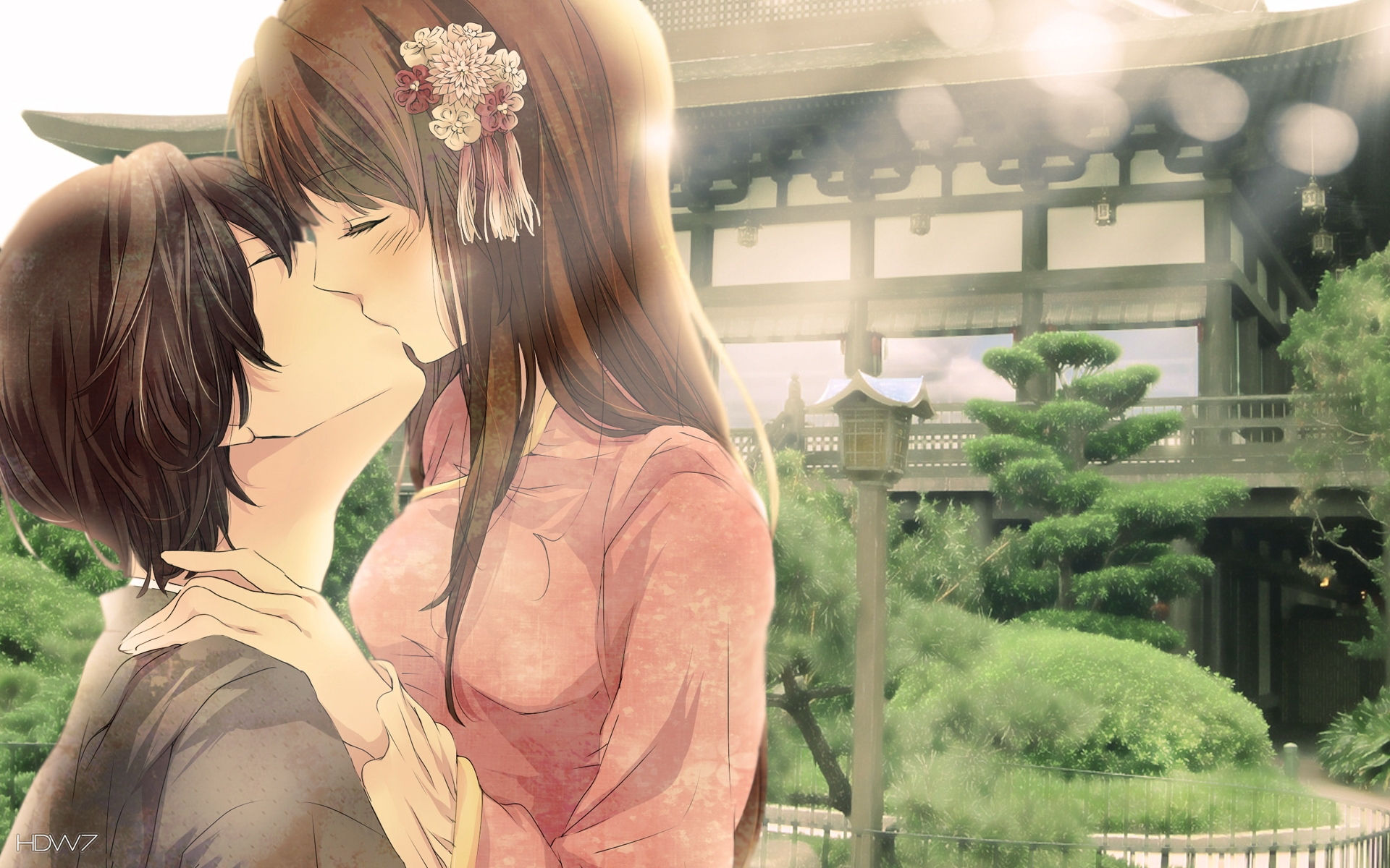 romantic kiss anime love couple kissing girl