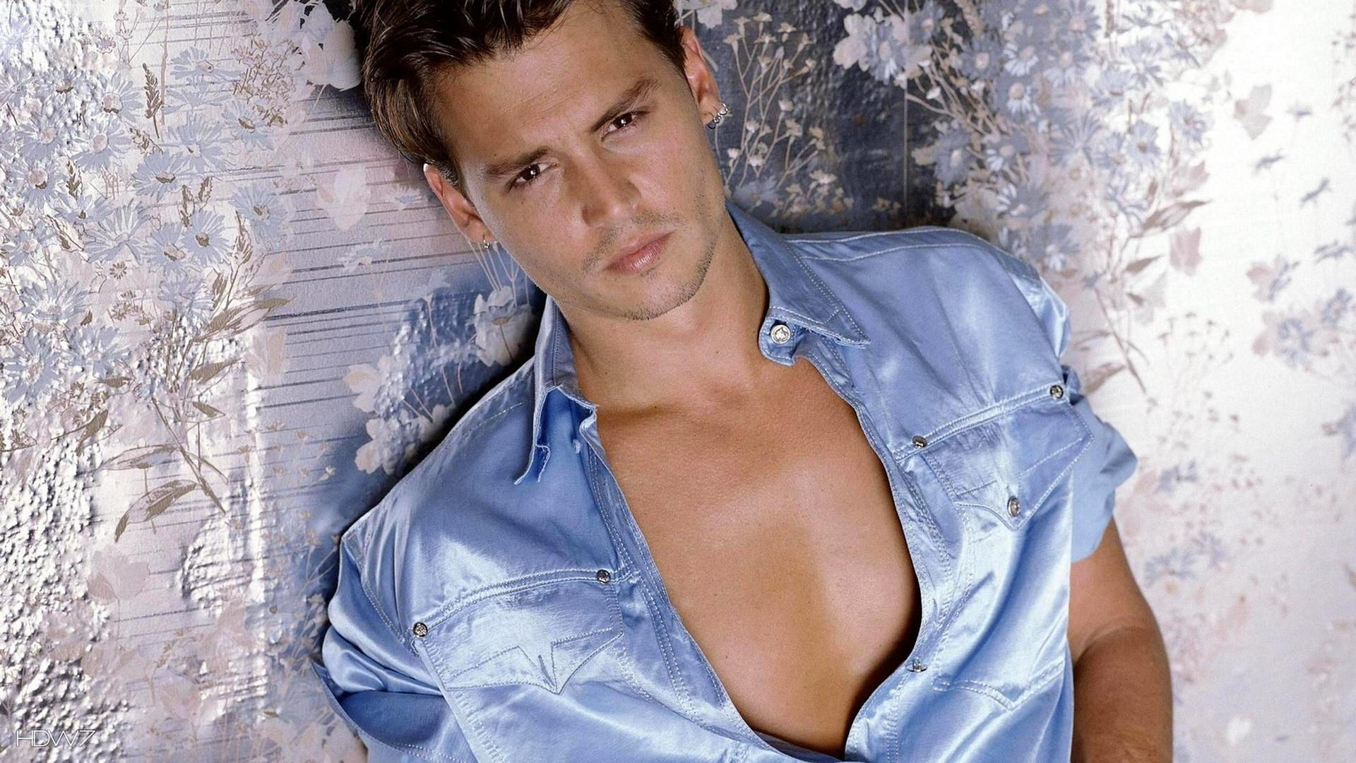 young johnny depp in blue shirt glamorous celebrity wallpaper