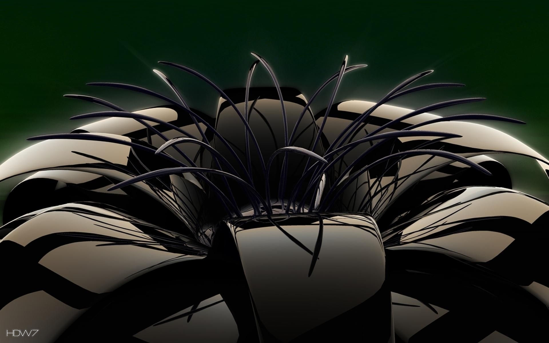 3d Black Shiny Glass Flower Dark Hd Wallpaper Gallery 406