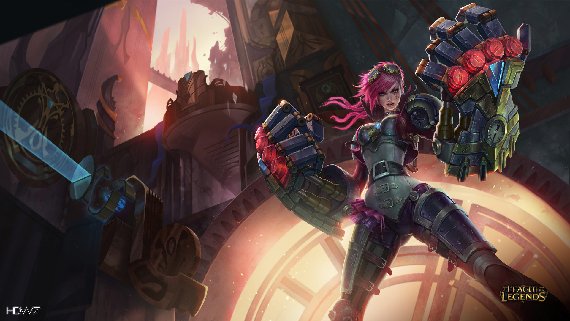 league of legends game lol vi girl mechanic fists