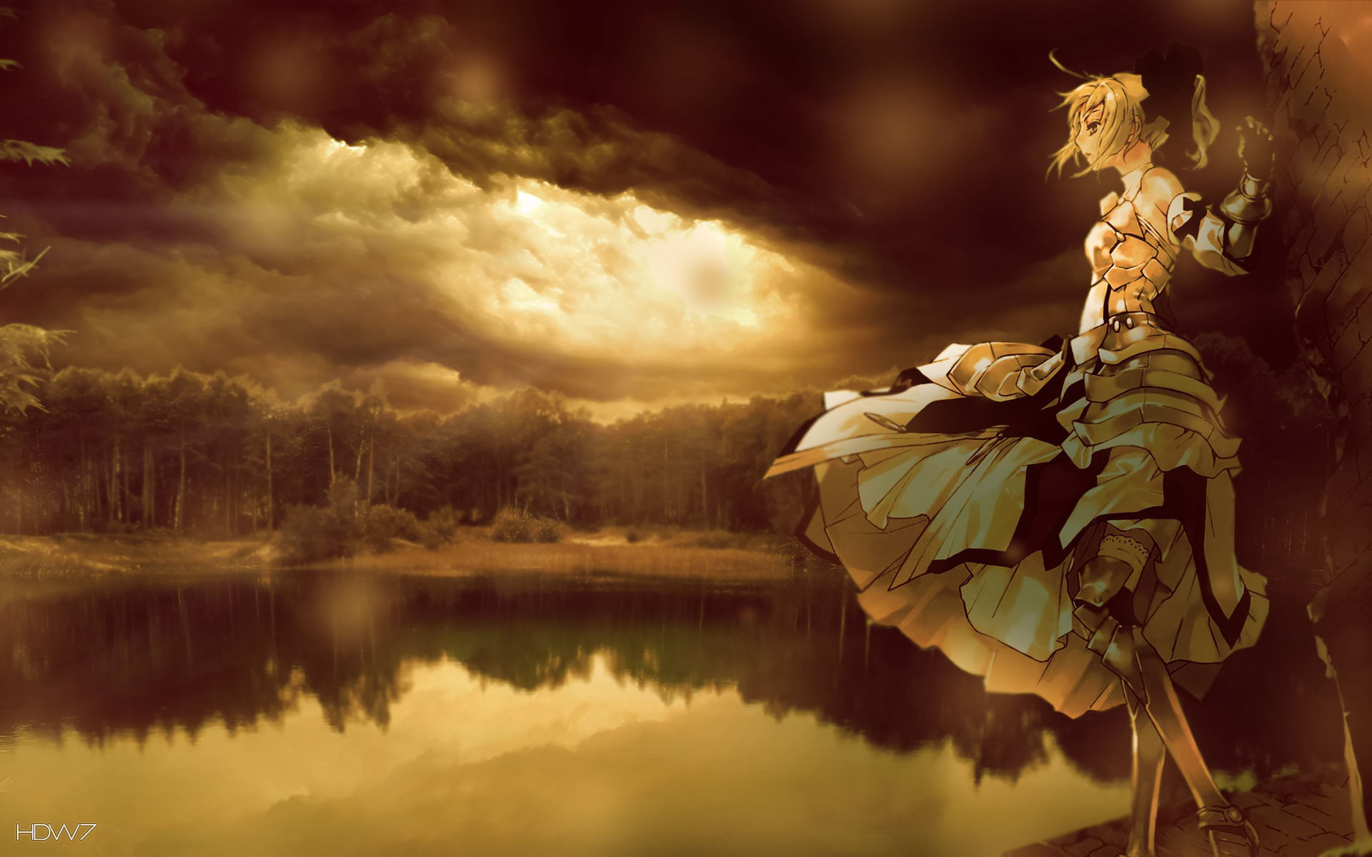 anime girl at the shore of a lake under the clouds wallpaper