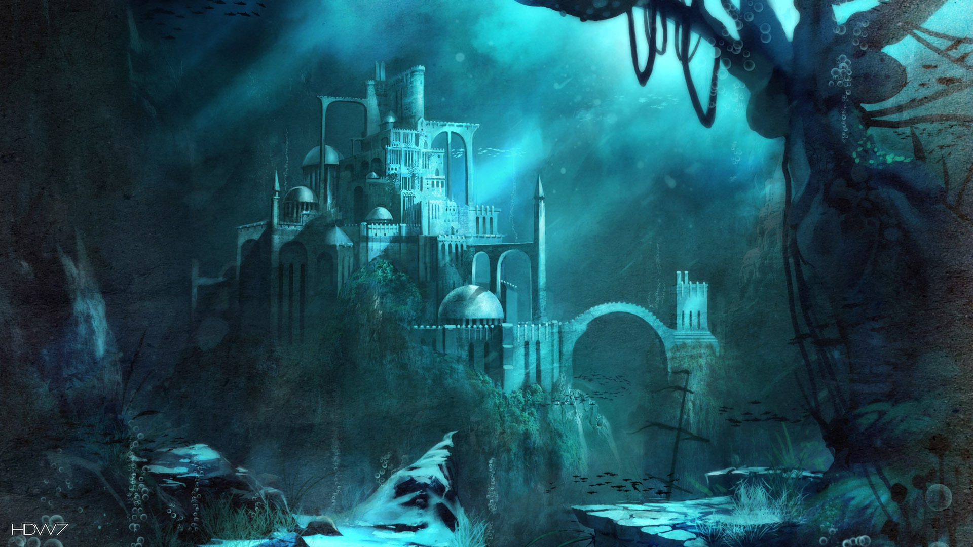 trine 2 underwater castle widescreen hd wallpaper