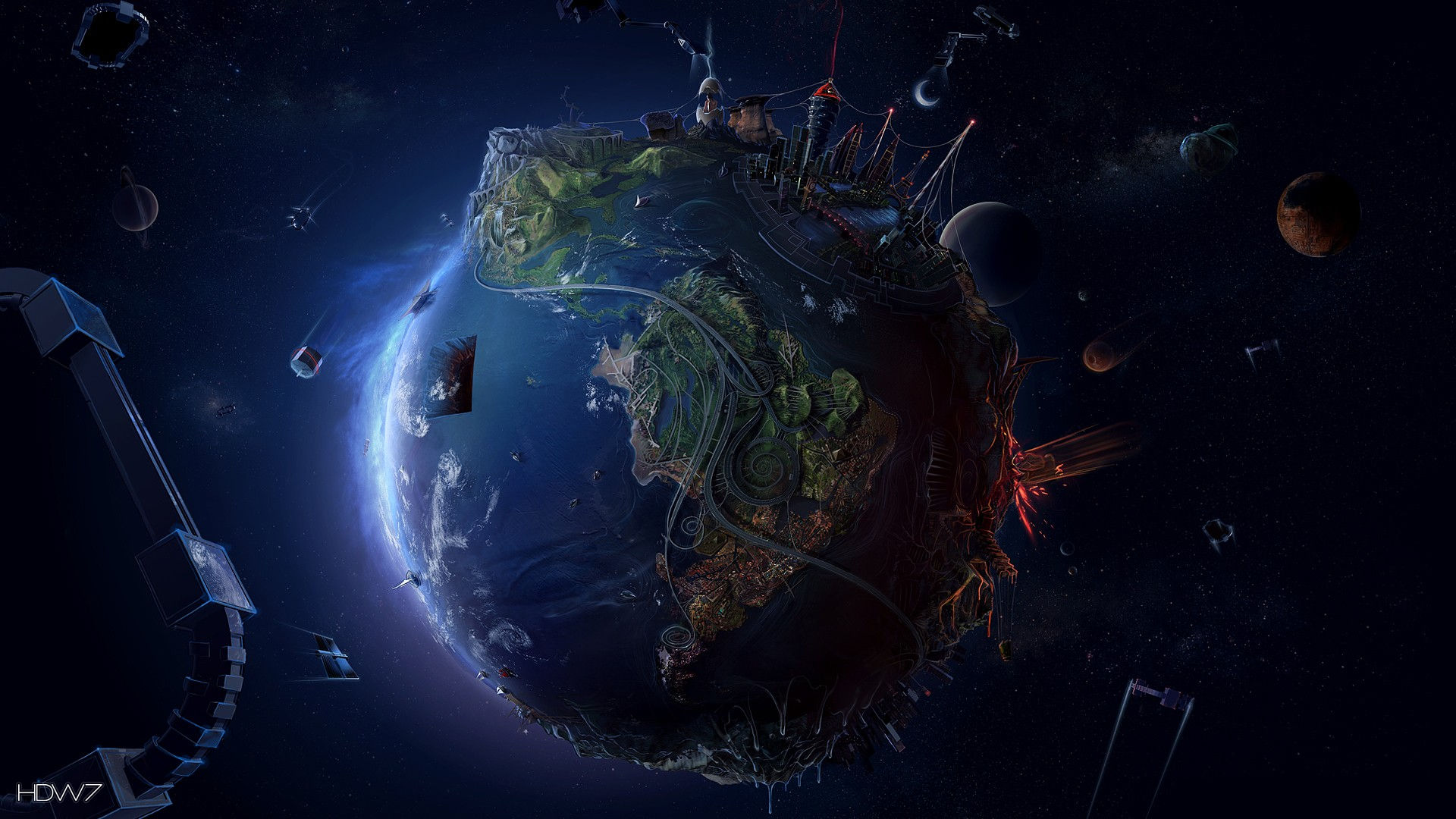 fantasy planet earth hd wallpaper