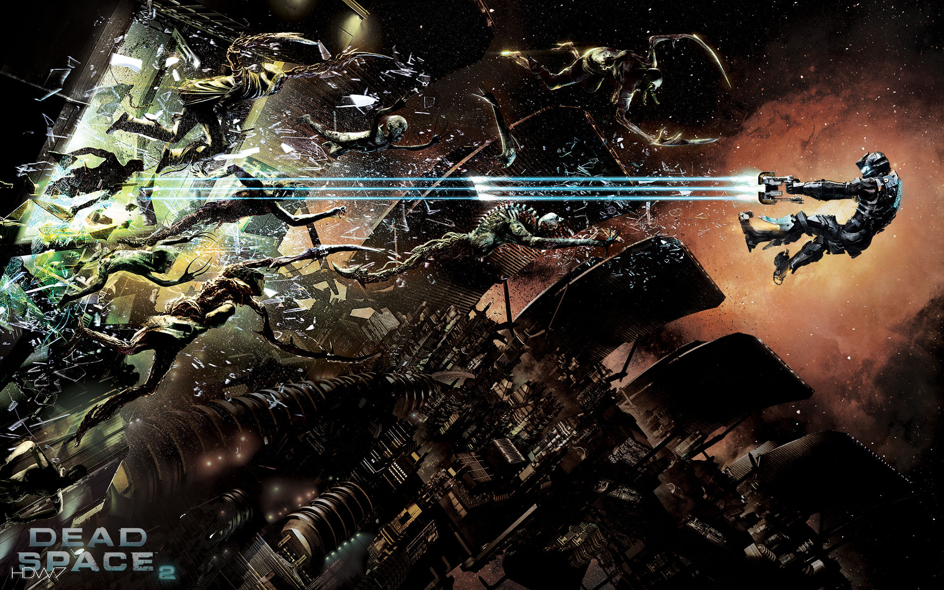 dead space 2 sprawl fight widescreen wallpaper