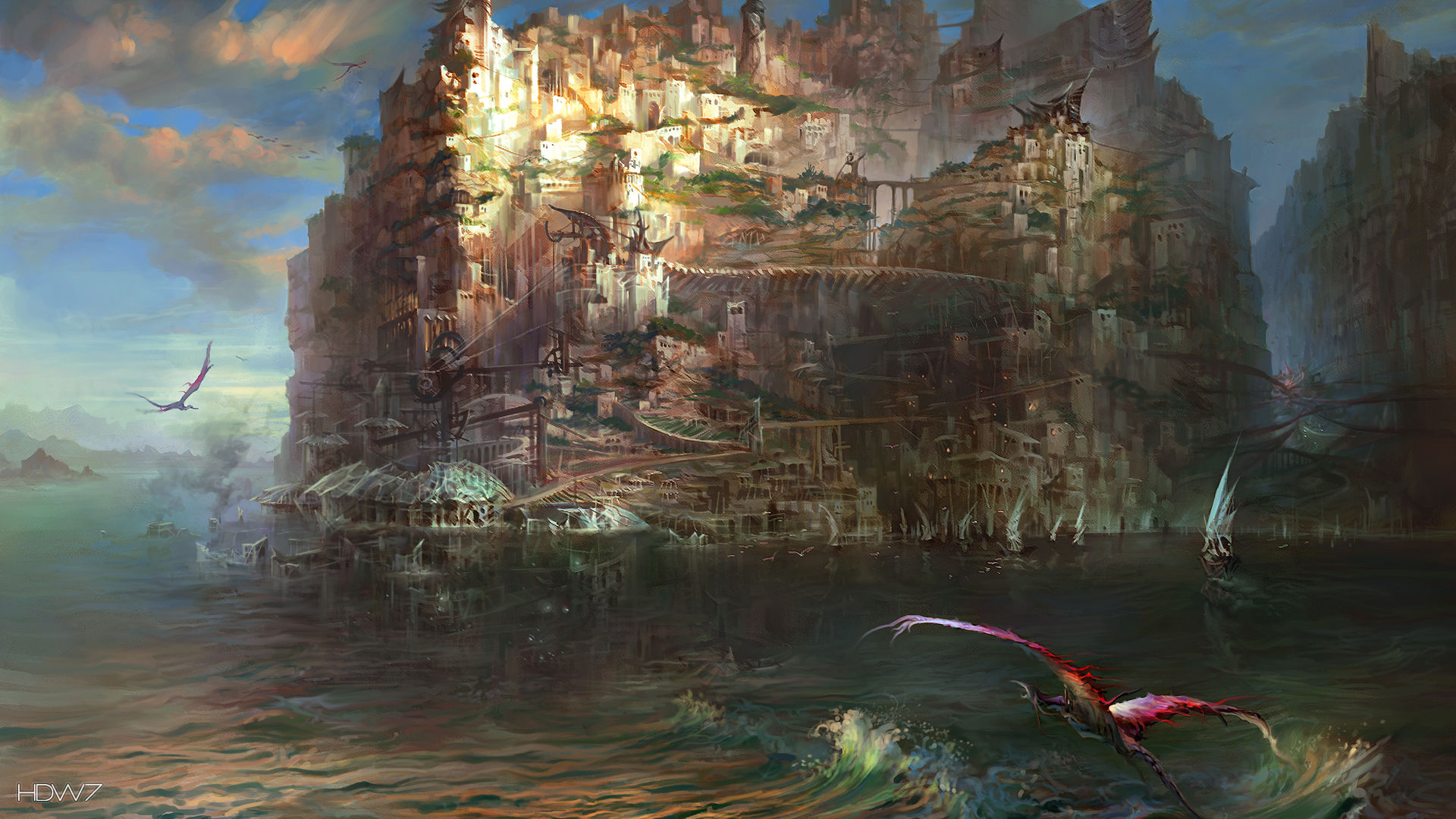 torment tides of numenera sagus cliffs at dawn widescreen hd wallpaper