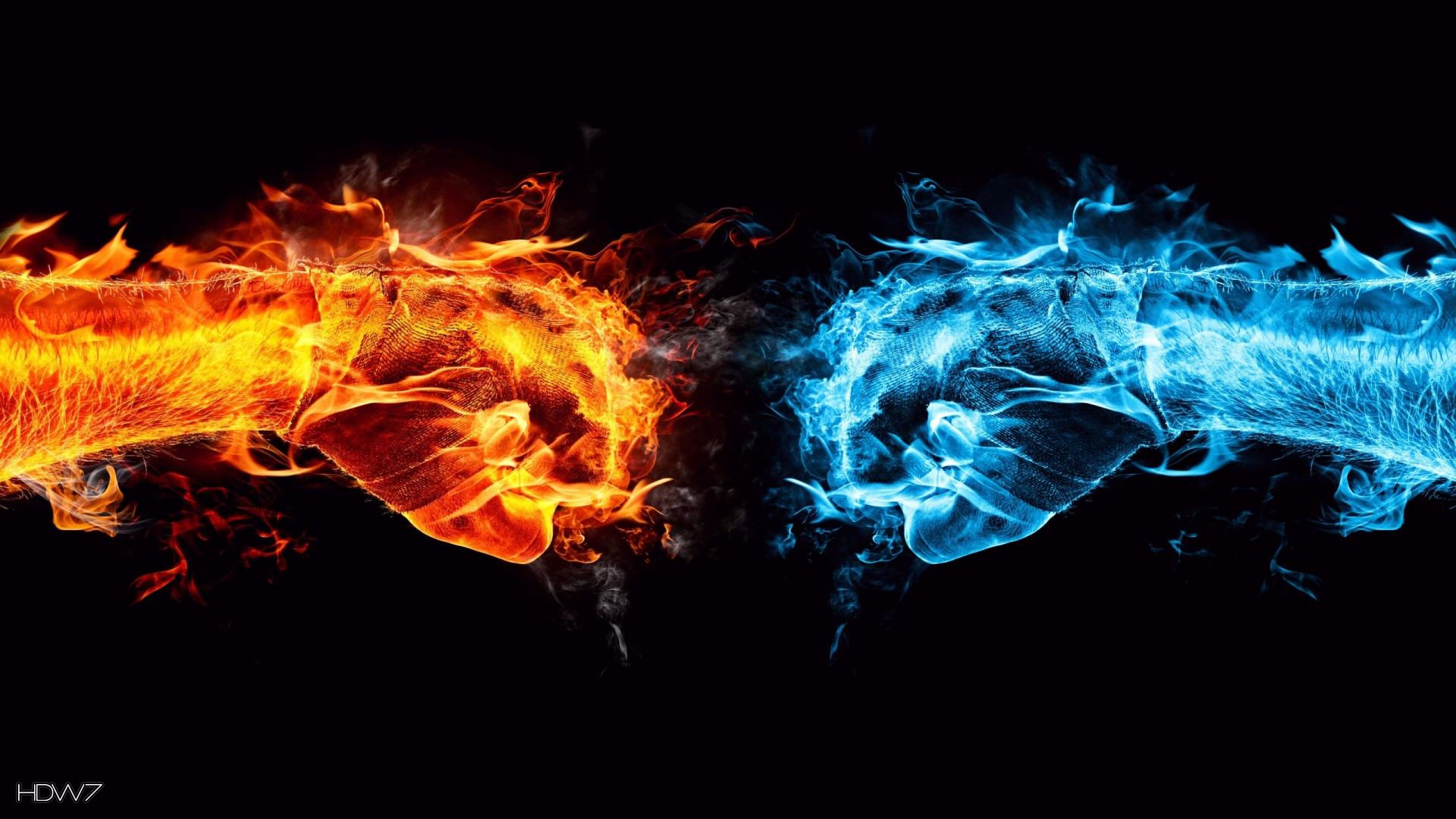 fire and ice fists 1920x1080 wallpaper