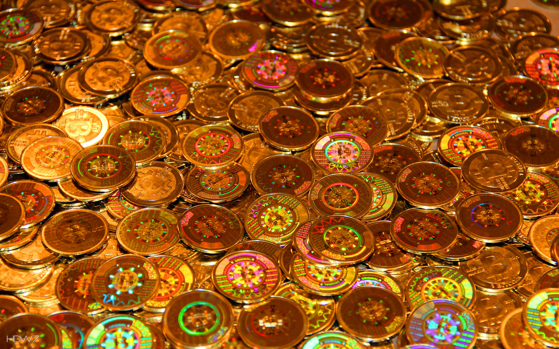shiny bitcoin coins money