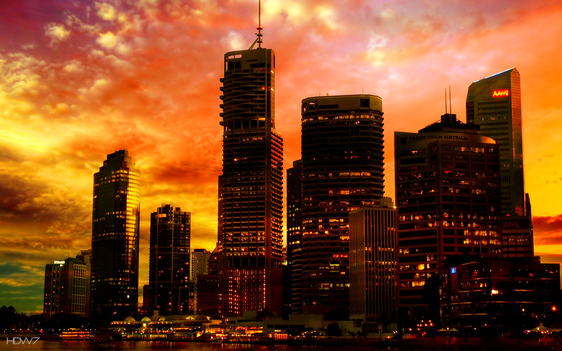 skyscrappers at sunset hd wallpaper