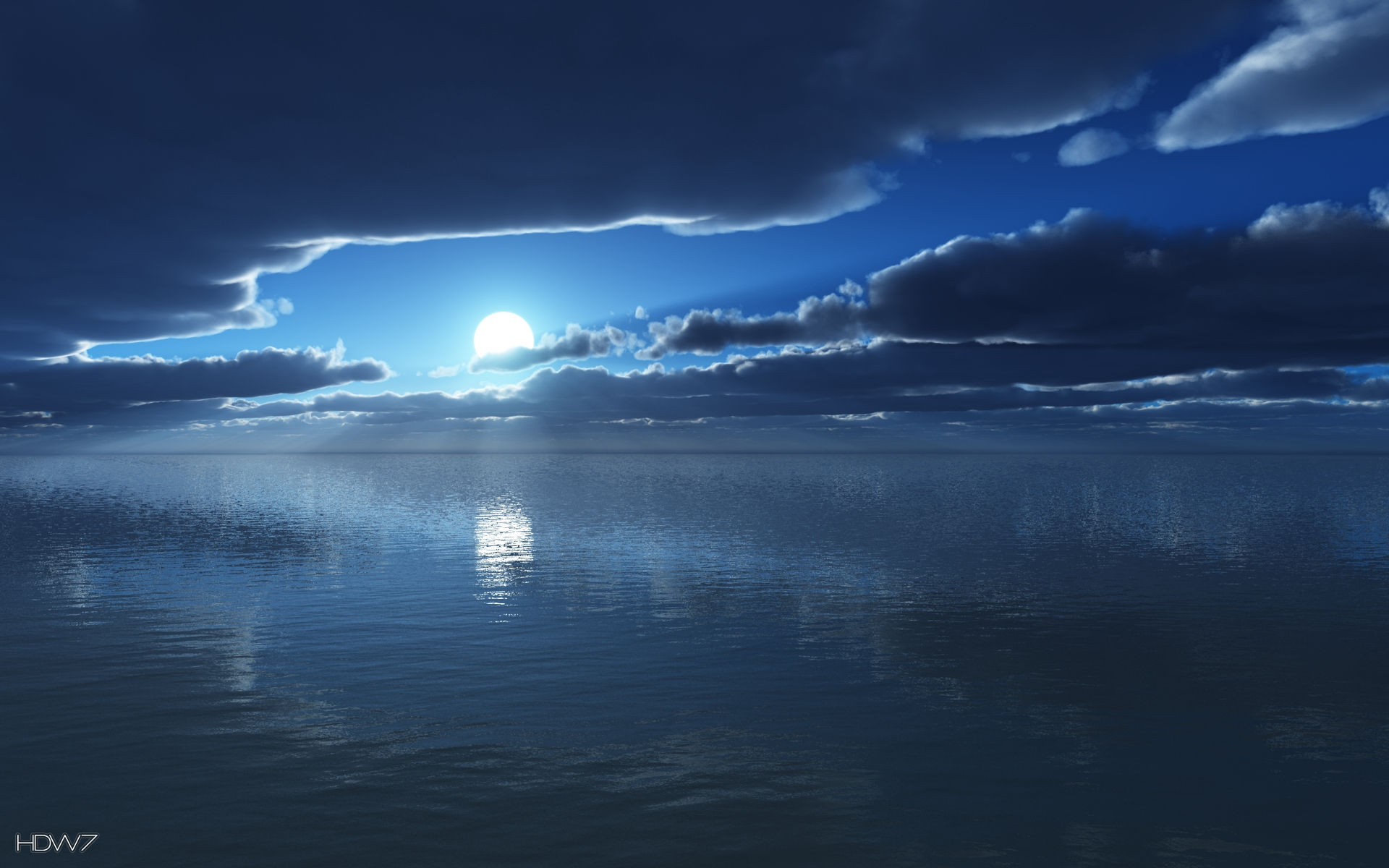 Shiny Moon In A Cloudy Night Over The Sea Wallpaper