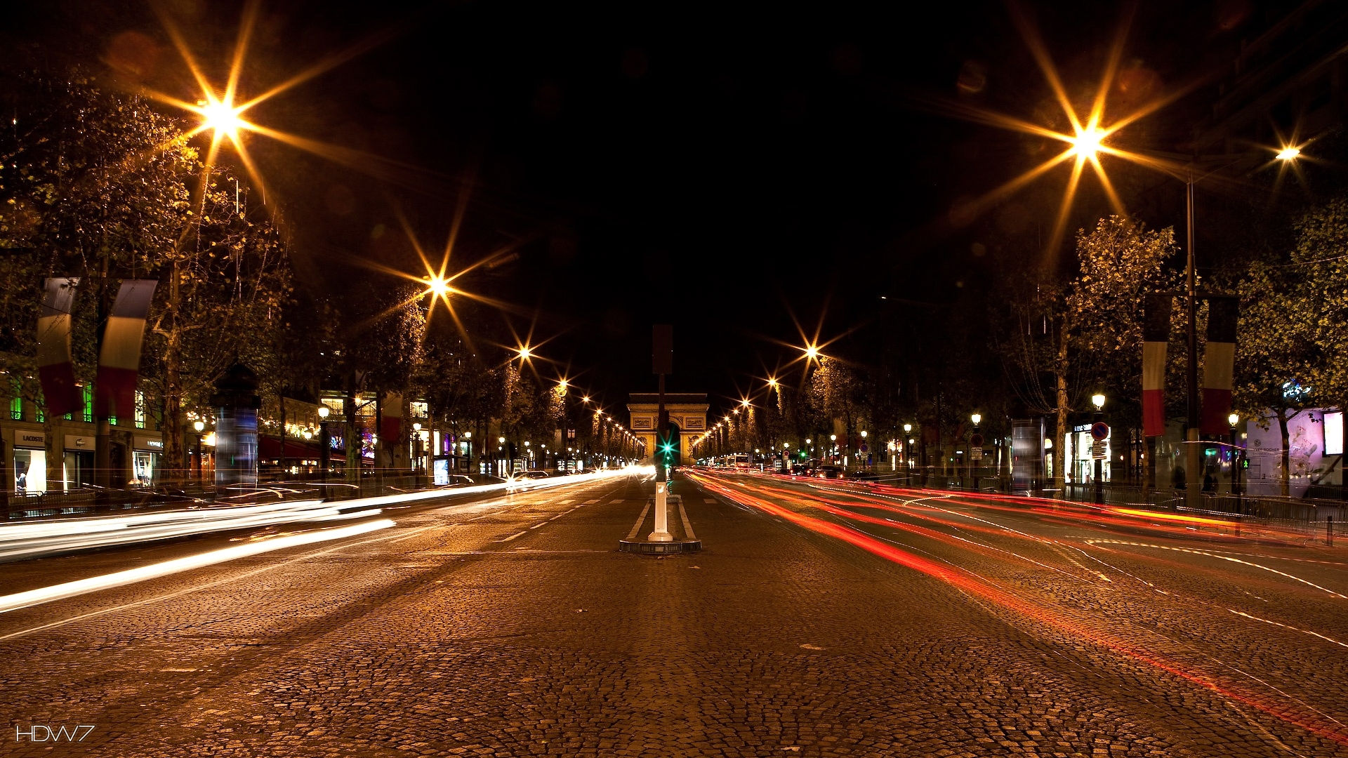 Abstract City Night Road In Paris Hd Street Gate Lights
