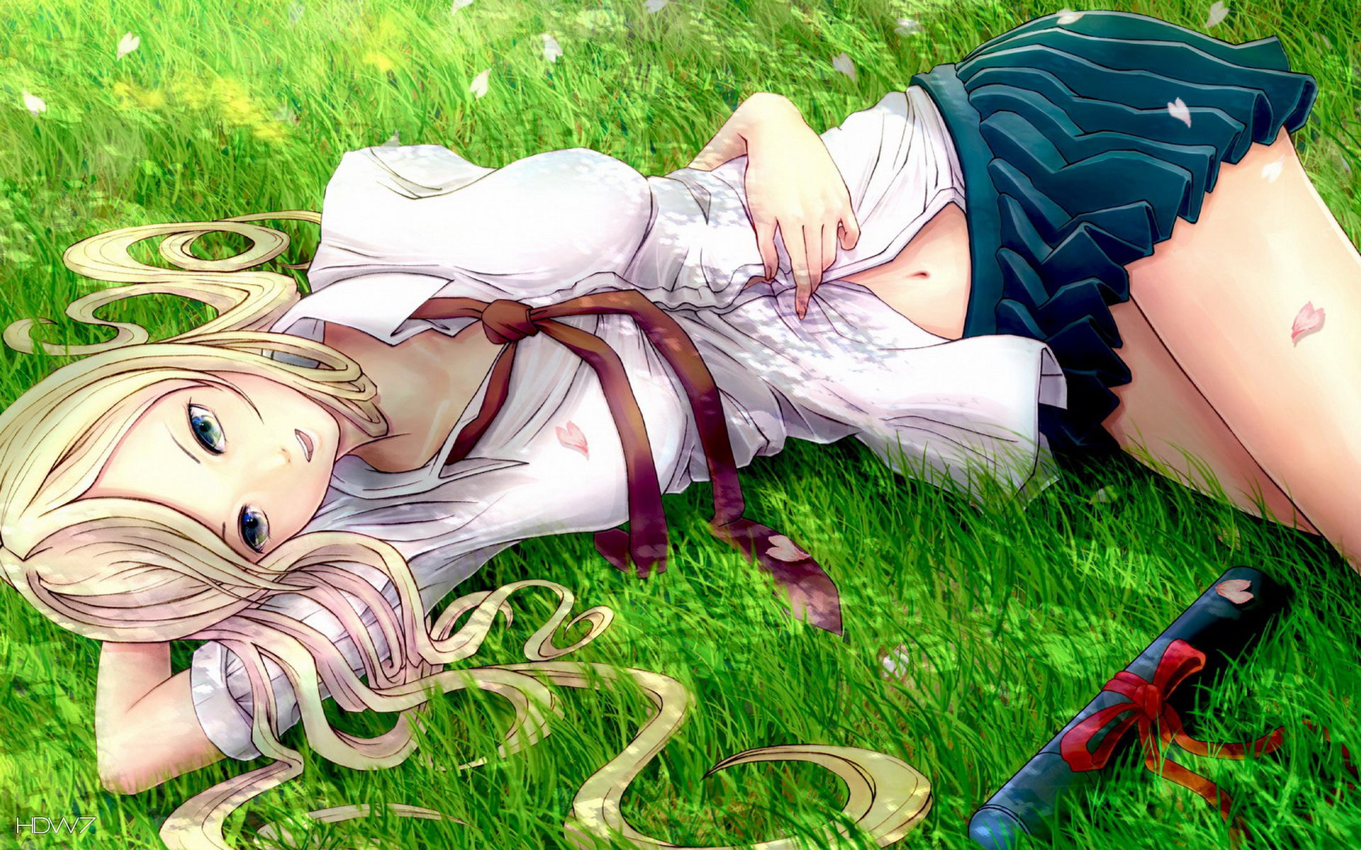 blonde anime girl in the garden wallpaper