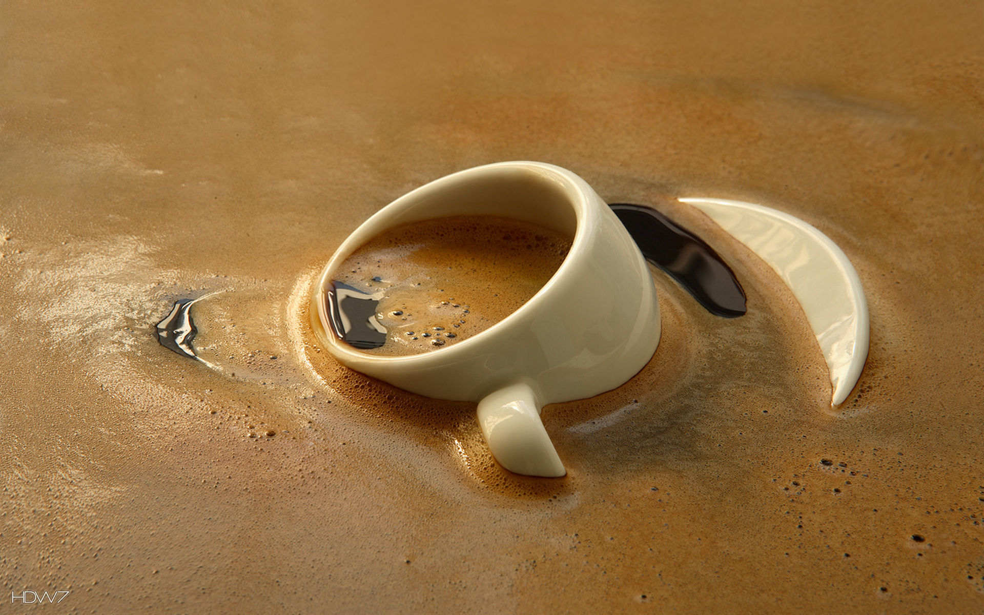 sunk cup of coffee